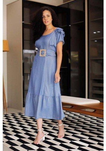 vestido azul midi com babados fasciniu s frente