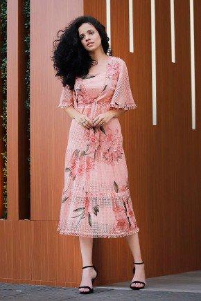 vestido rose floral babados sobreposicao fasciniu s frente