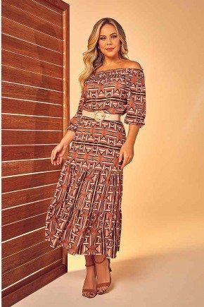 vestido longo ciganinha estampado com cinto via tolentino frente