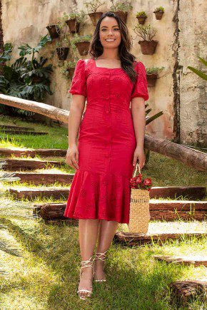 vestido vermelho com babados bruna jany pim frente