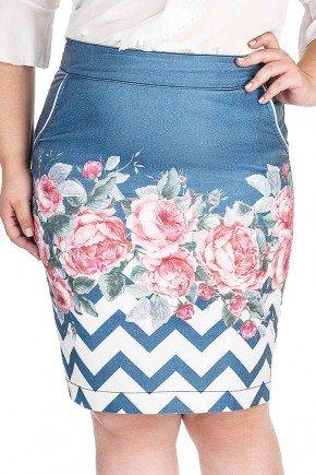 saia secretaria estampa floral na barra dyork jeans frente baixo