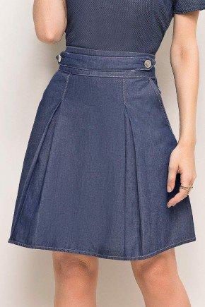 saia jeans evase detalhe martingale no cos laura rosa frente baixo