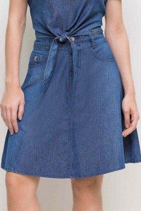 saia gode azul jeans laura rosa frente baixo
