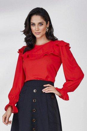 blusa vermelha mangas longas com babados cloa frente cima
