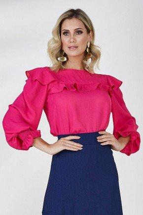 blusa pink mangas longas com babados cloa frente cima