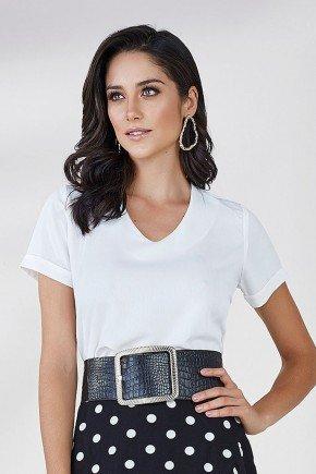 blusa feminina off white decote v ariel cloa frente cima