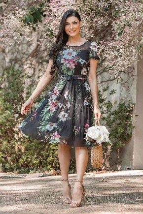 vestido gode estampado com tule jany pim frente