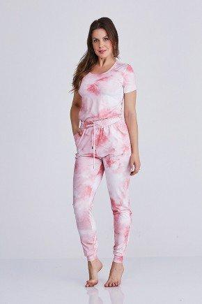 conjunto pijama rosa tiedye cloa frente