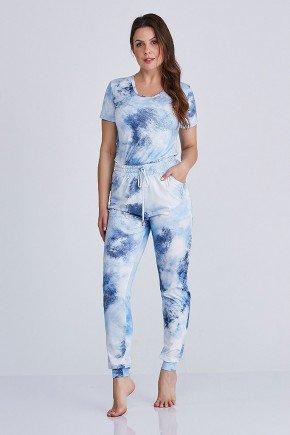 conjunto pijama azul claro tiedye cloa frente
