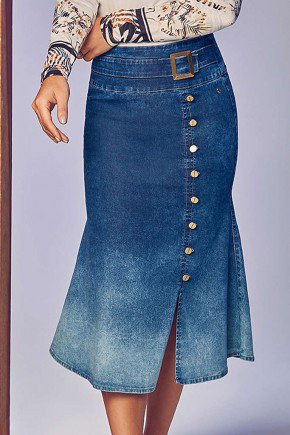 saia jeans midi com fenda frontal via tolentino frente baixo