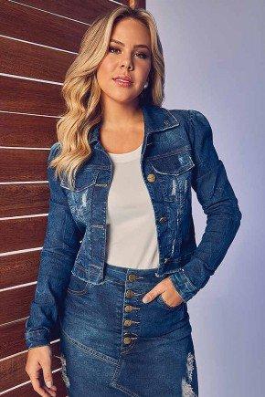 jaqueta feminina jeans barra desfiada via tolentino frente