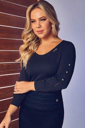 blusa preta canelada manga c detalhe via tolentino frente