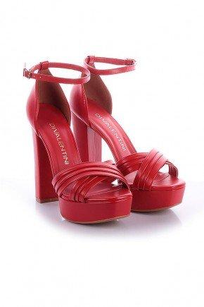 sandalia salto grosso yara napa vermelho di valentini