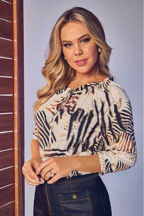 blusa feminina animal print com babadinhos via tolentino