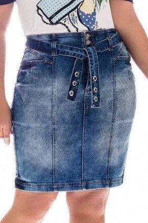 saia jeans plus size faixa em tecido nitido frente baixo