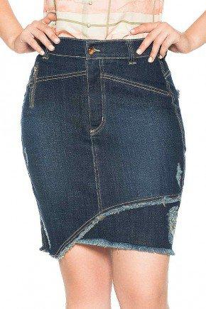 saia jeans recorte assimetrico na barra nitido frente baixo