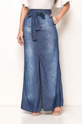 saia jeans longa com fenda e amarracao laura rosa frente baixo