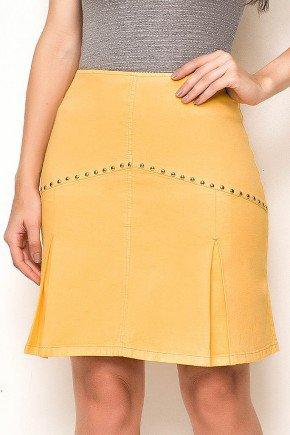 saia evase amarelo com tachas dourado laura rosa frente baixo