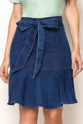 saia jeans sino cinto laco embutido laura rosa frente baixo