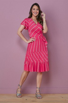 vestido transpassado pink gode mirela tata martello frente