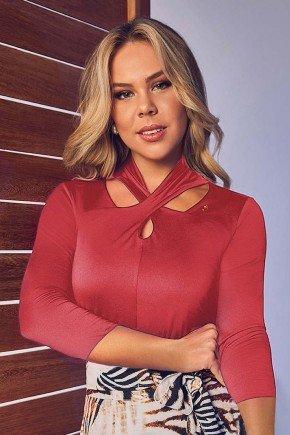 blusa vermelha malha com gola alta via tolentino