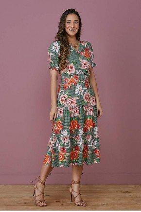 vestido evase verde transpassado com florais tata martello frente
