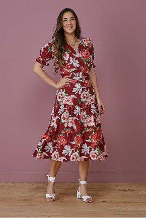 vestido evase marsala transpassado com florais tata martello frente