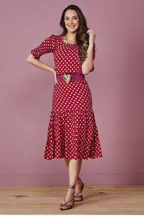vestido ciganinha vermelho com poas tata martello frente