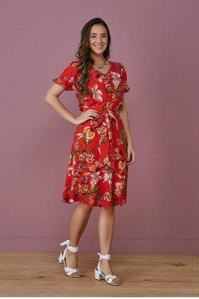 vestido vermelho evase floral tata martello frente