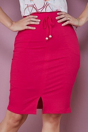 saia reta canelada pink com bolsos tata martello baixo