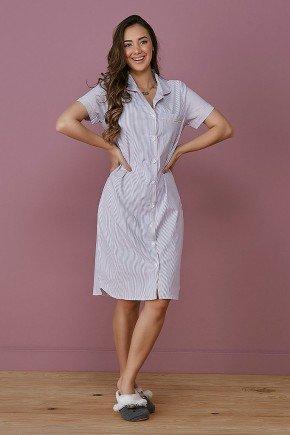 pijama feminino listrado lilas botoes frontais tata martello