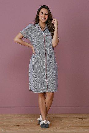 pijama feminino listrado marinho botoes frontais tata martello