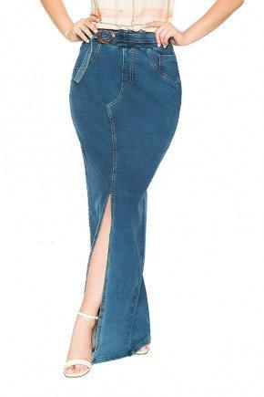 saia longa com fenda e fivela rustica nitido jeans frente baixo