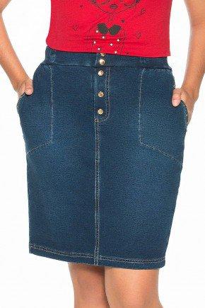 saia azul com bolsos e detalhe em botoes nitido jeans frente baixo