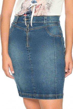 saia jeans detalhe ziper frontal nitido frente baixo