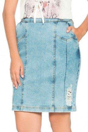 saia azul jeans bolso faca abertura lateral nitido