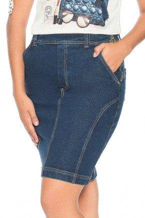 saia jeans escuro ziper lateral nitido frente baixo