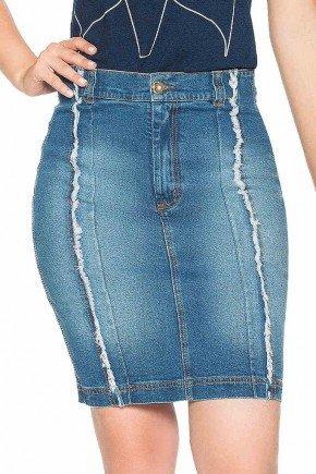 saia jeans recorte verticais com desfiados nitido jeans frente baixo