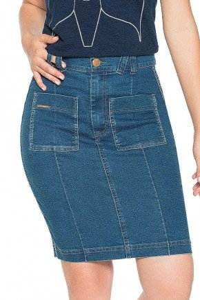 saia jeans com recortes e bolsos quadrados nitido frente baixo