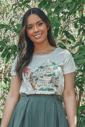 t shirt elaine estampada com bordados em perolas jany pim frente cima