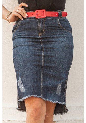saia jeans mullet barrado desfiado raje jeans frente baixo