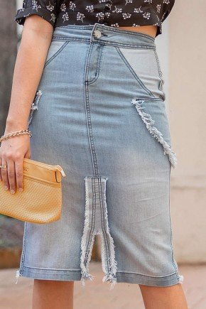 saia jeans detalhes em recortes e desfiados raje jeans frente baixo