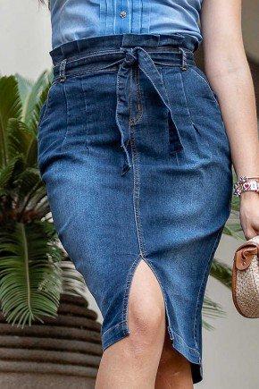 saia jeans clochard com amarracao raje jeans frente baixo