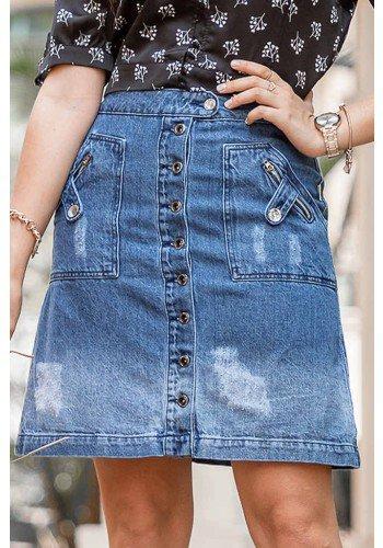 saia jeans evase abotoamento frontal raje jeans frente baixo