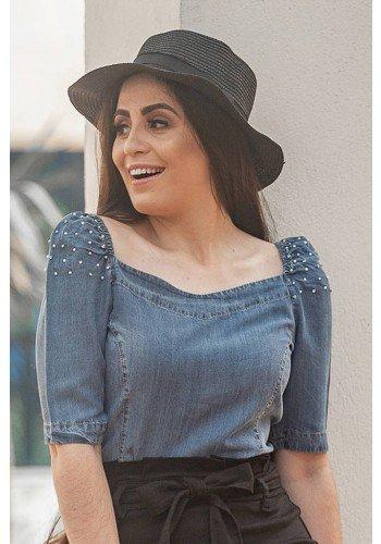blusa feminina mangas bufantes com bordados raje jeans frente cima