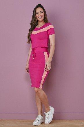 conjunto feminino pink detalhe em faixa rose tata martello frente