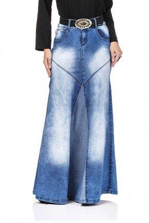 saia longa jeans com recortes dyork frente baixo