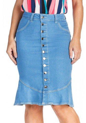 saia sereia azul claro abotoamento frontal dyork jeans frente baixo