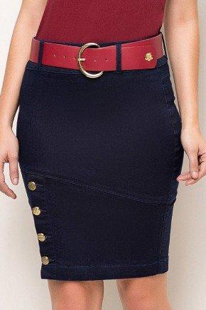 saia azul marinho jeans detalhe em botoes laura rosa frente baixo