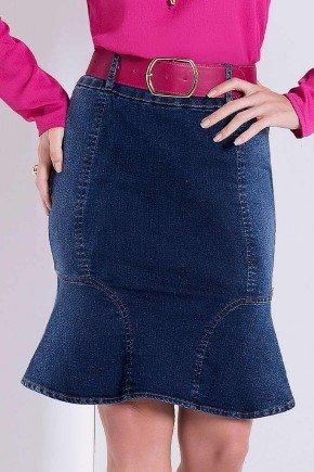 saia jeans sino com recortes laura rosa frente baixo